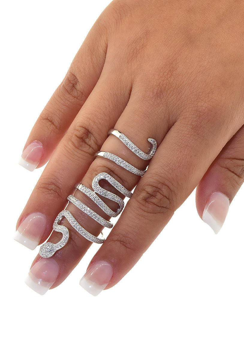 Serpent Snake Wrap Sterling Silver Crystal Ring