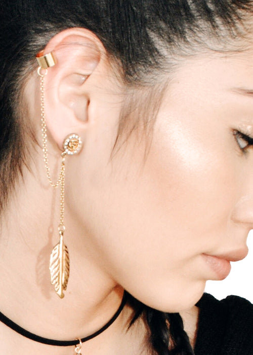 Bohemian Rose Chain Ear Cuff - Gold