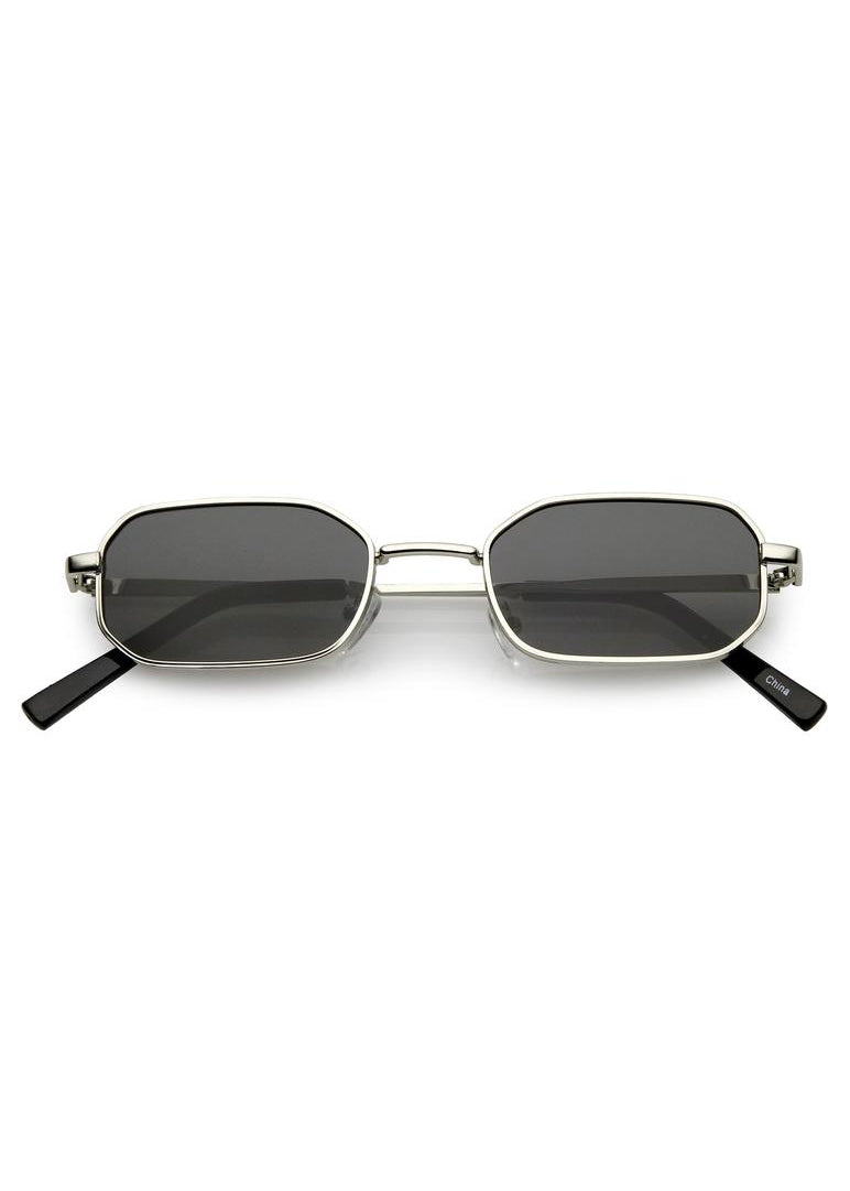 Tiny Rectangle Sunglasses - Silver