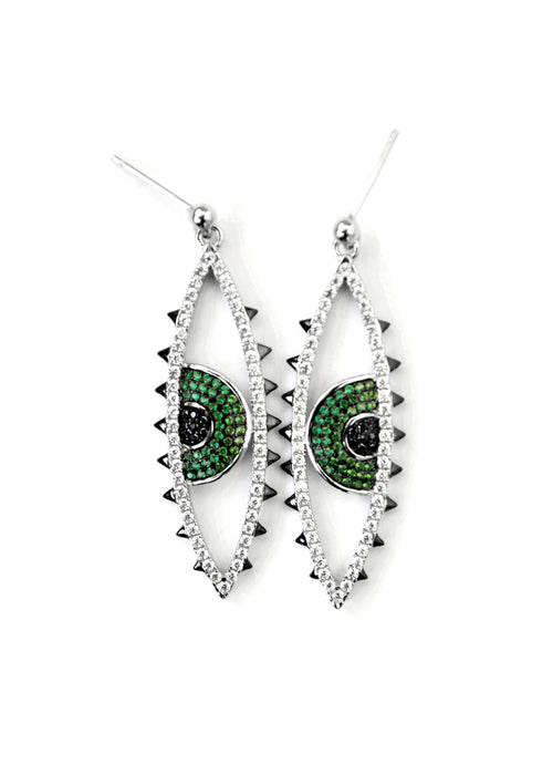 Open Eyes Long CZ Crystal Eye Earrings - Silver / Green