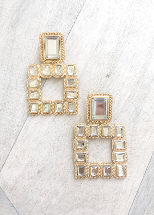 Crystal Square Drop Earrings - Gold / Clear
