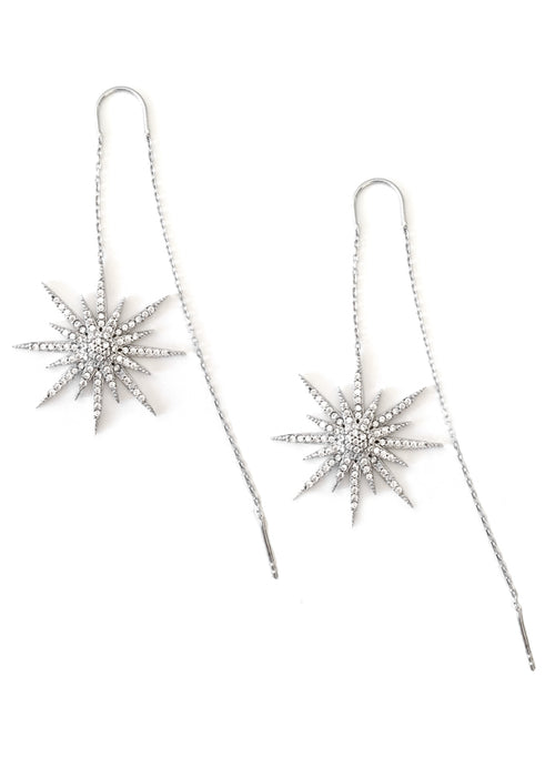 Crystal Star Sterling Silver Threader Earrings