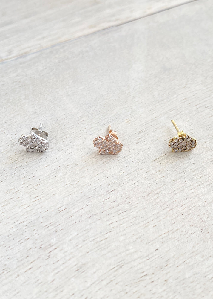 Tiny Crystal Hamsa Hand Stud Earrings