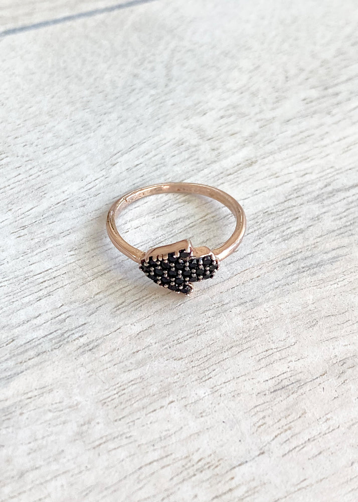 Tiny Crystal Hamsa Hand Midi Ring