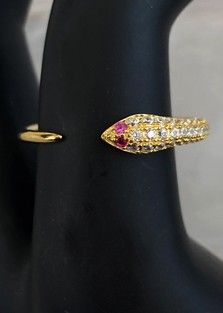 Dainty Crystal Snake Ring Gold Vermeil