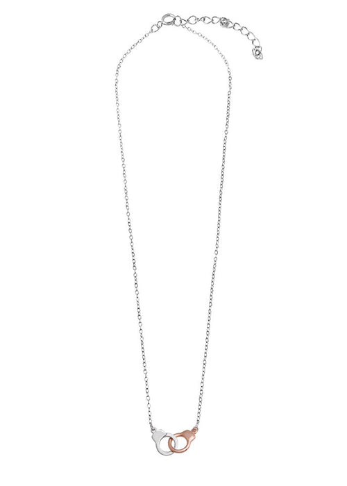 Two Tone Sterling Silver Handcuff Necklace