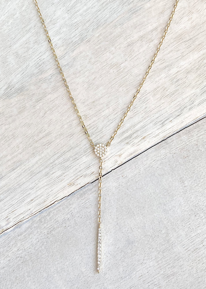 Dainty Gold Crystal Y Chain Lariat Necklace