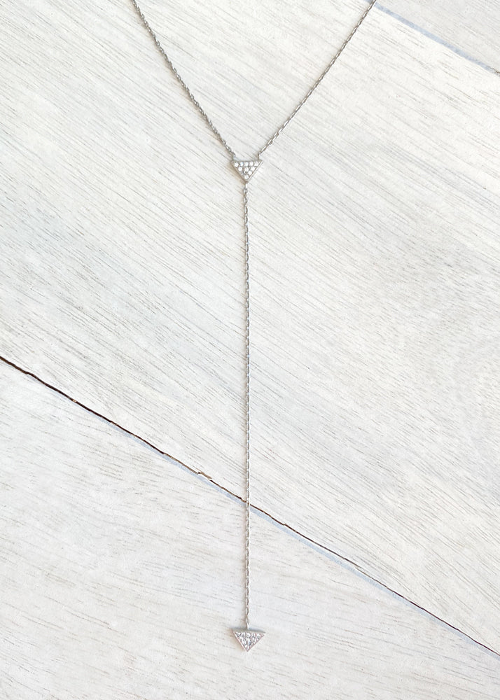 Dainty Crystal Triangle Y Chain Lariat Necklace