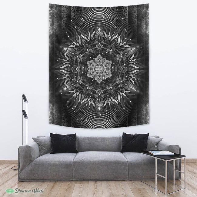Aligned Flower Black by YantrArt Design Tapestry
