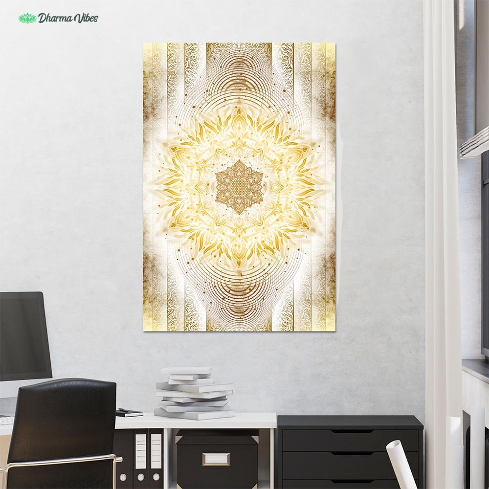 Aligned Flower Clear Gold by YantrArt Design 1-Piece Canvas