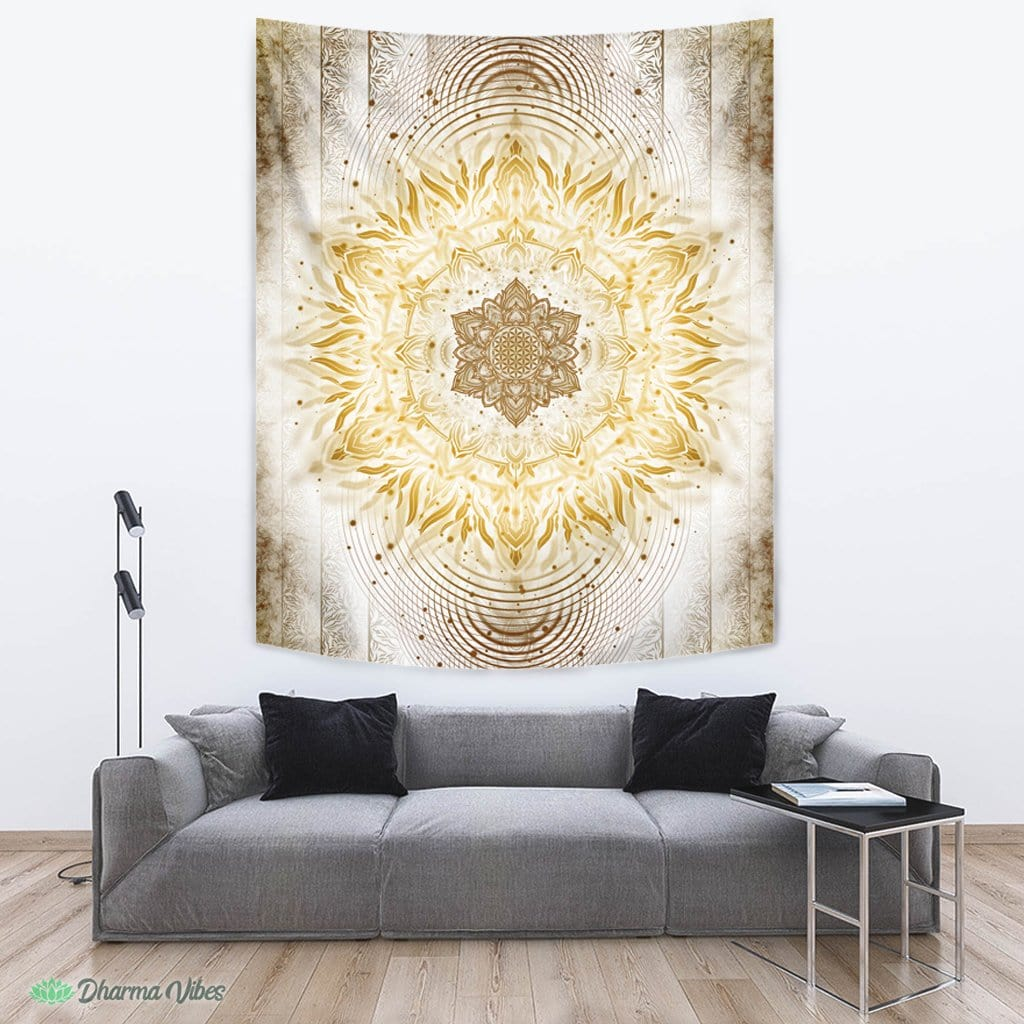 Aligned Flower Clear Gold by YantrArt Design Tapestry