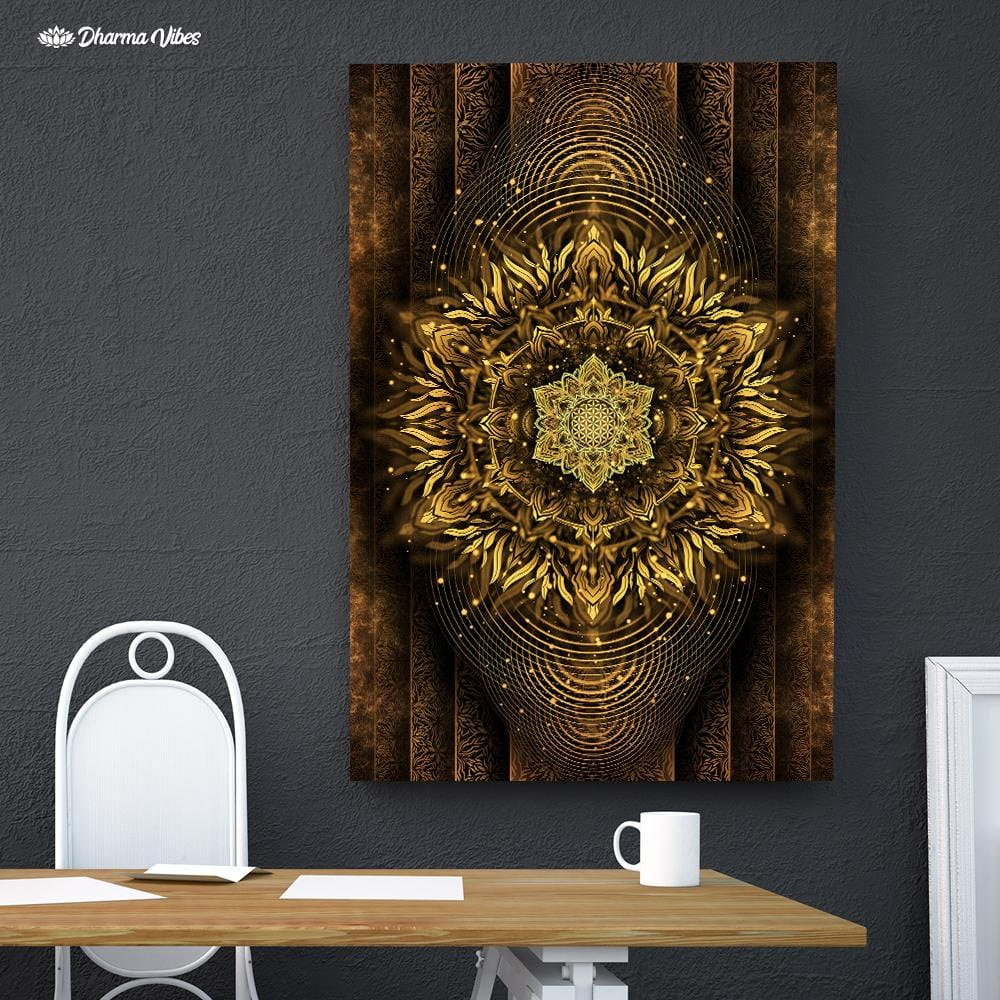 Aligned Flower Gold by YantrArt Design 1-Piece Canvas