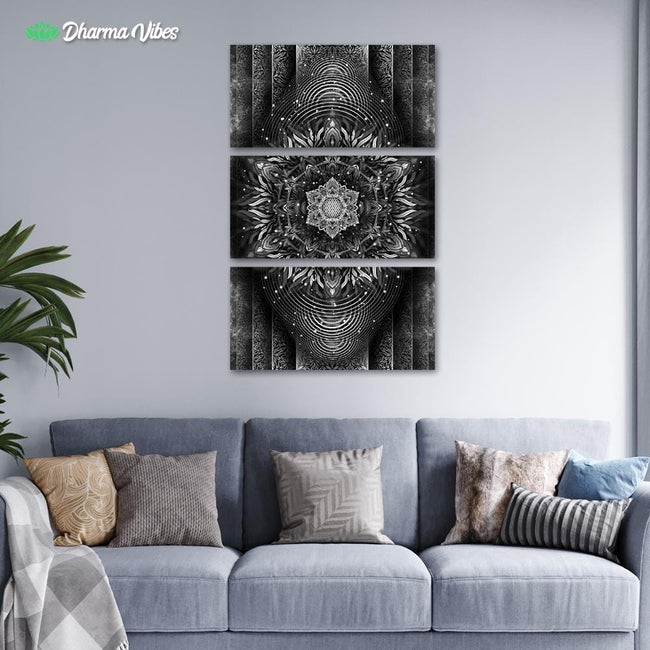Aligned Flower - Black by Yantrart 3-Piece Canvas