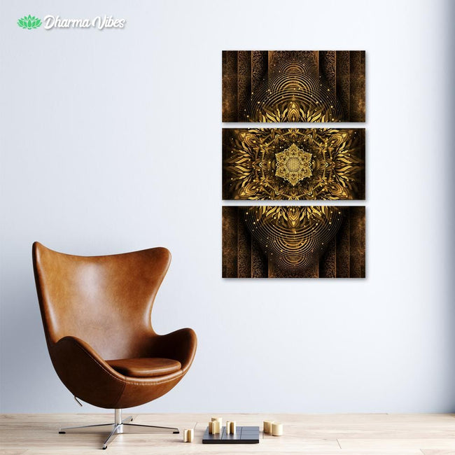 Aligned Flower - Golden by Yantrart 3-Piece Canvas
