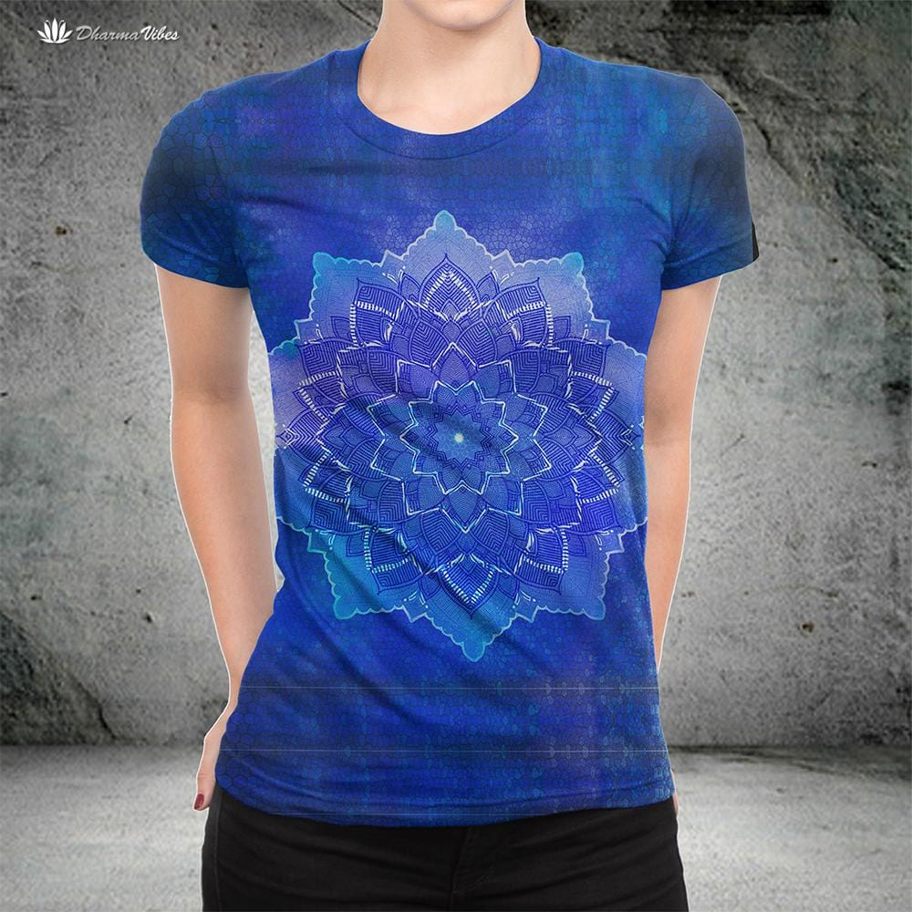 Blue Flower Mandala by McAshe T-Shirt