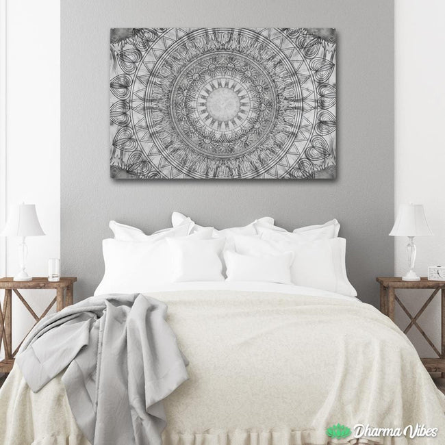 Black and white mandala by McAshe 1-Piece Canvas