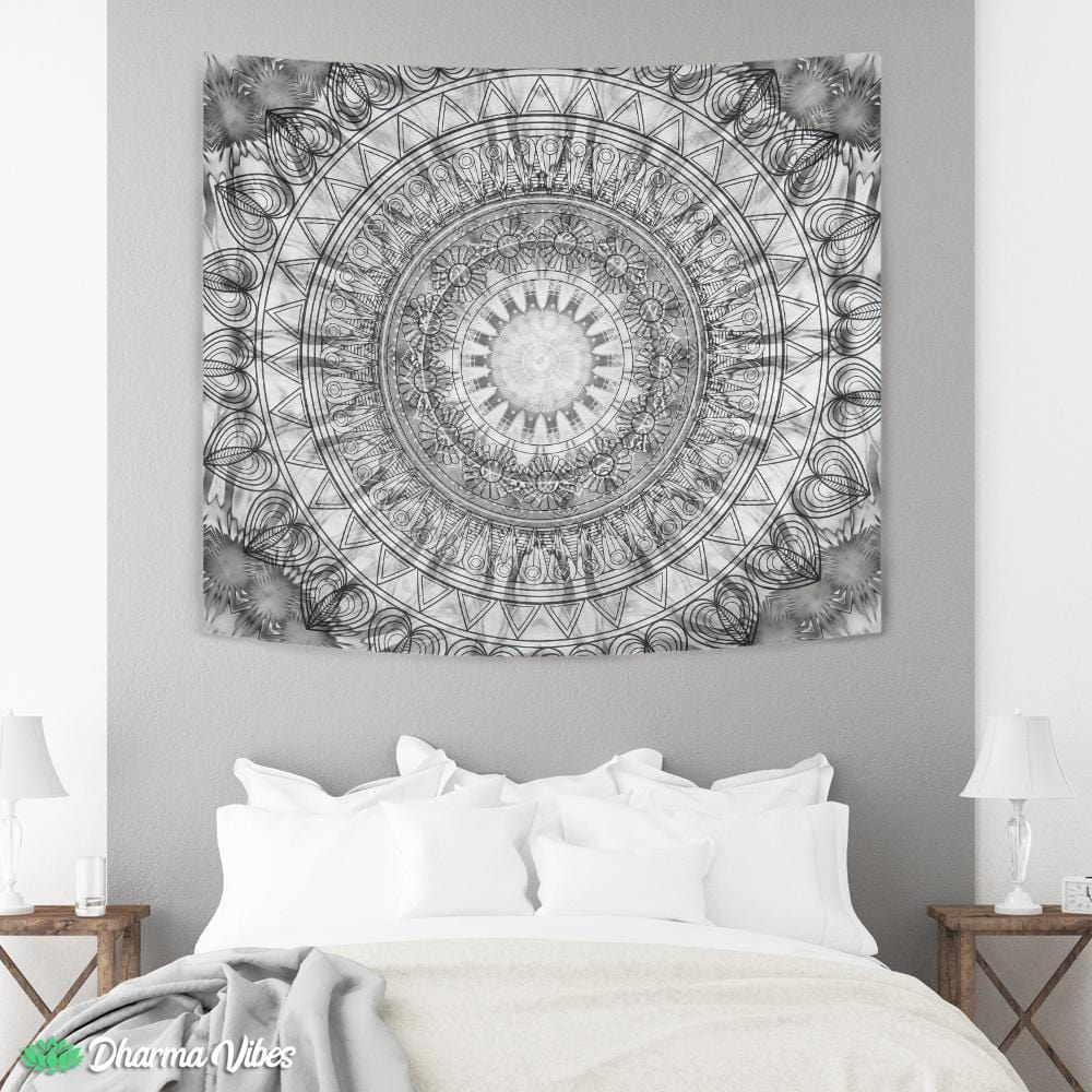 Black and white mandala by McAshe Tapestry
