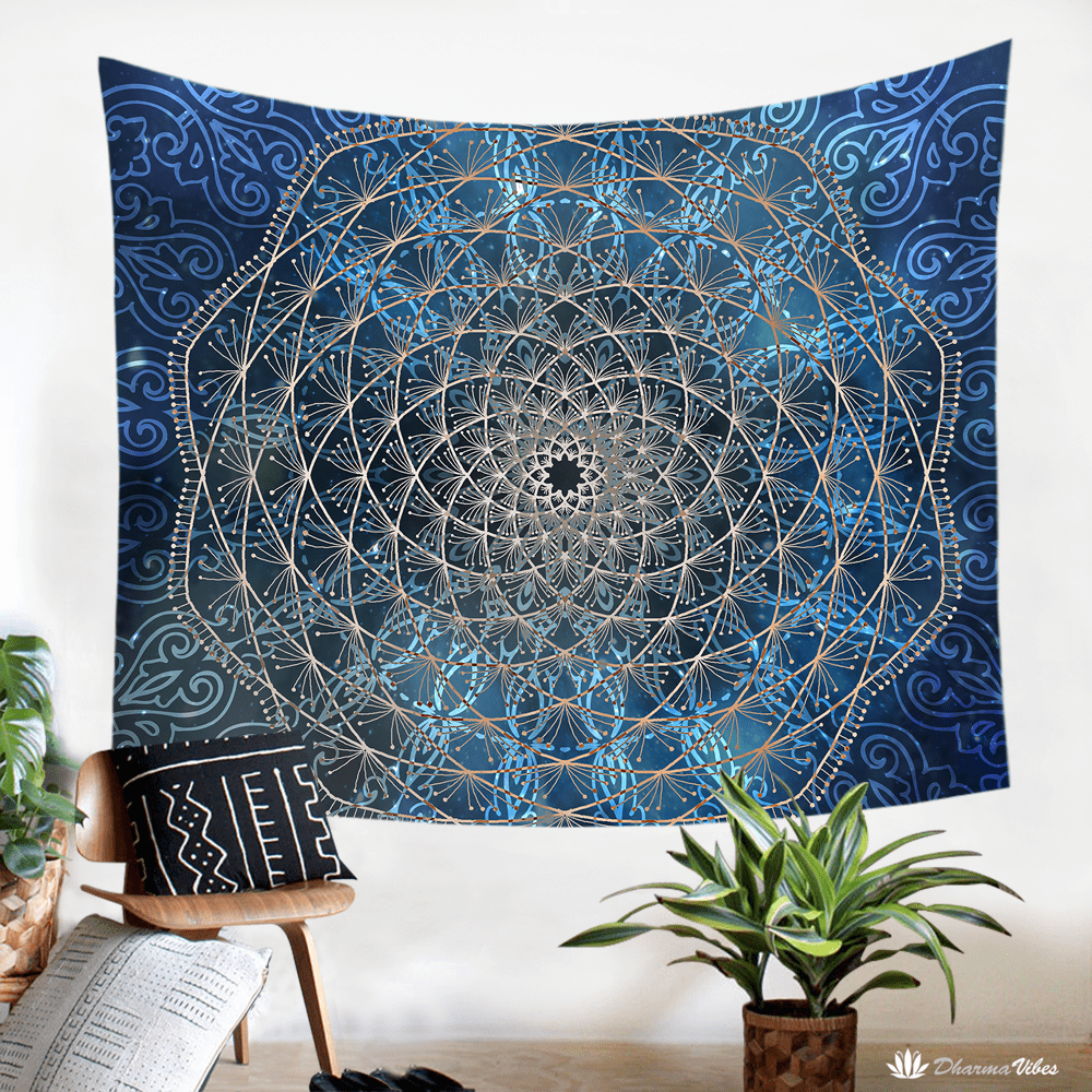 Blue Geometry by McAshe Tapestry