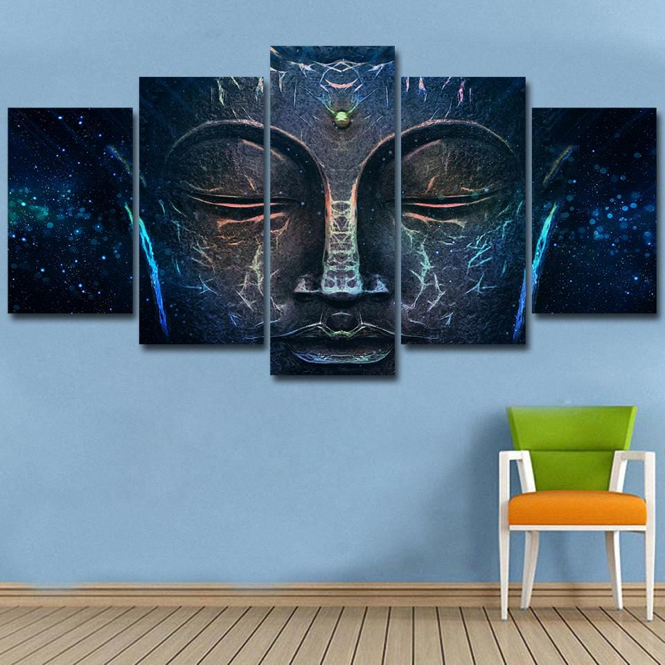 Buddha Wisdom 5-Piece Canvas (Ready-to-Hang UPGRADE)