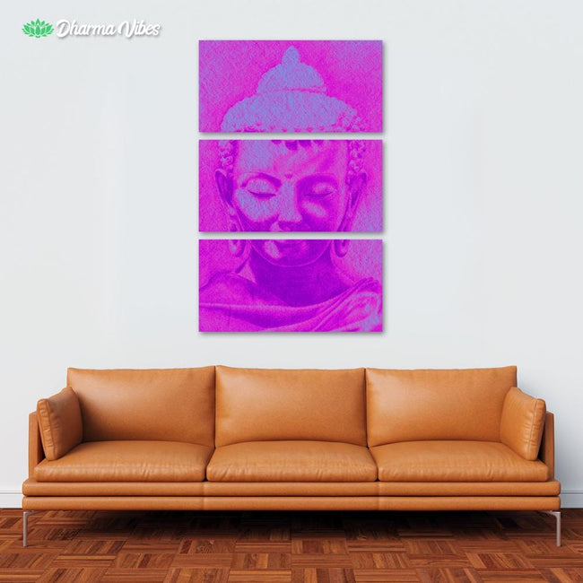 Buddha Purple by BuddhArt 3-Piece Canvas