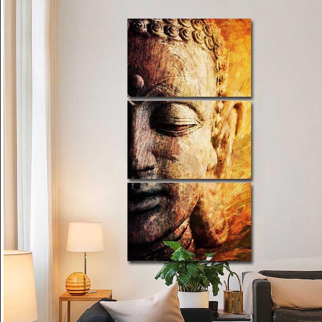 Buddha Awakened 3-Piece Canvas (Ready-to-Hang UPGRADE)