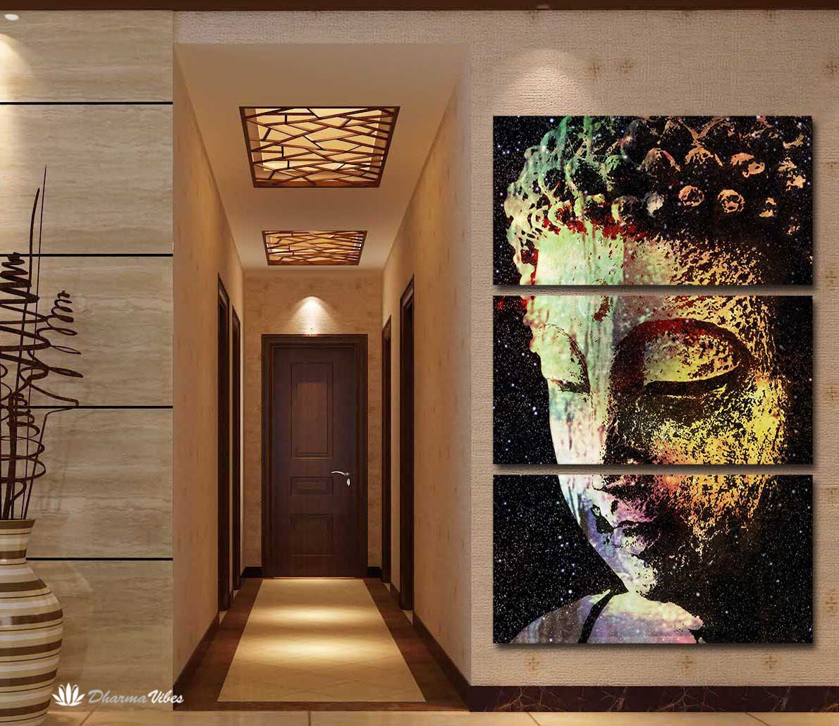 Buddha Galaxy 3-Piece Canvas Art by McAshe