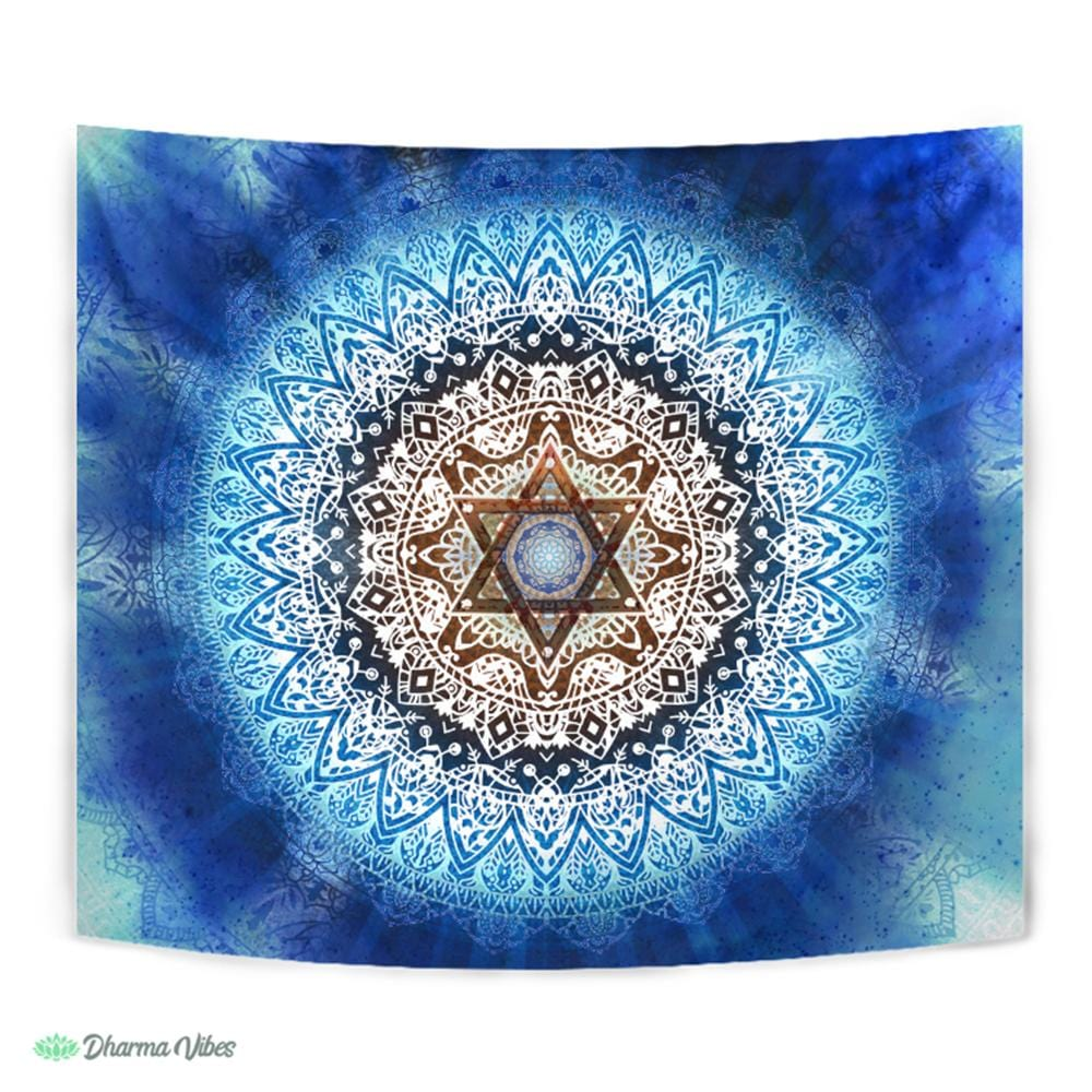 Magen Star Blue Mandala by McAshe Tapestry
