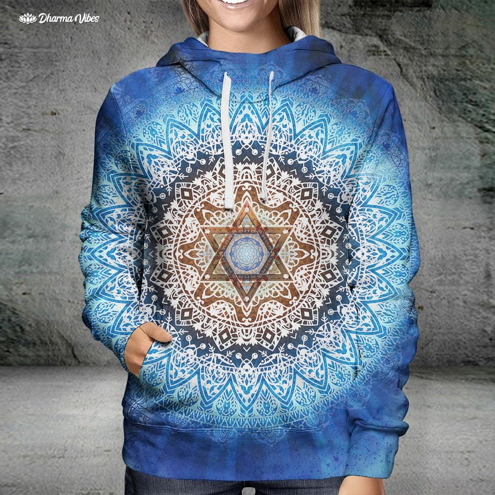 Magen Star Blue Mandala by McAshe Hoodie