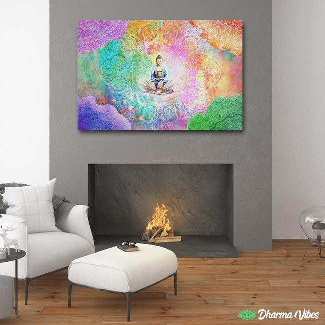 Colorful Buddha meditation by McAshe 1-Piece Canvas