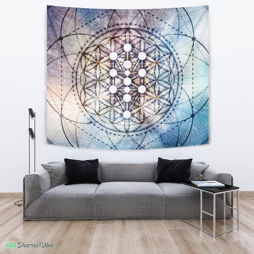 Divine Kabbalah Flower by McAshe Tapestry