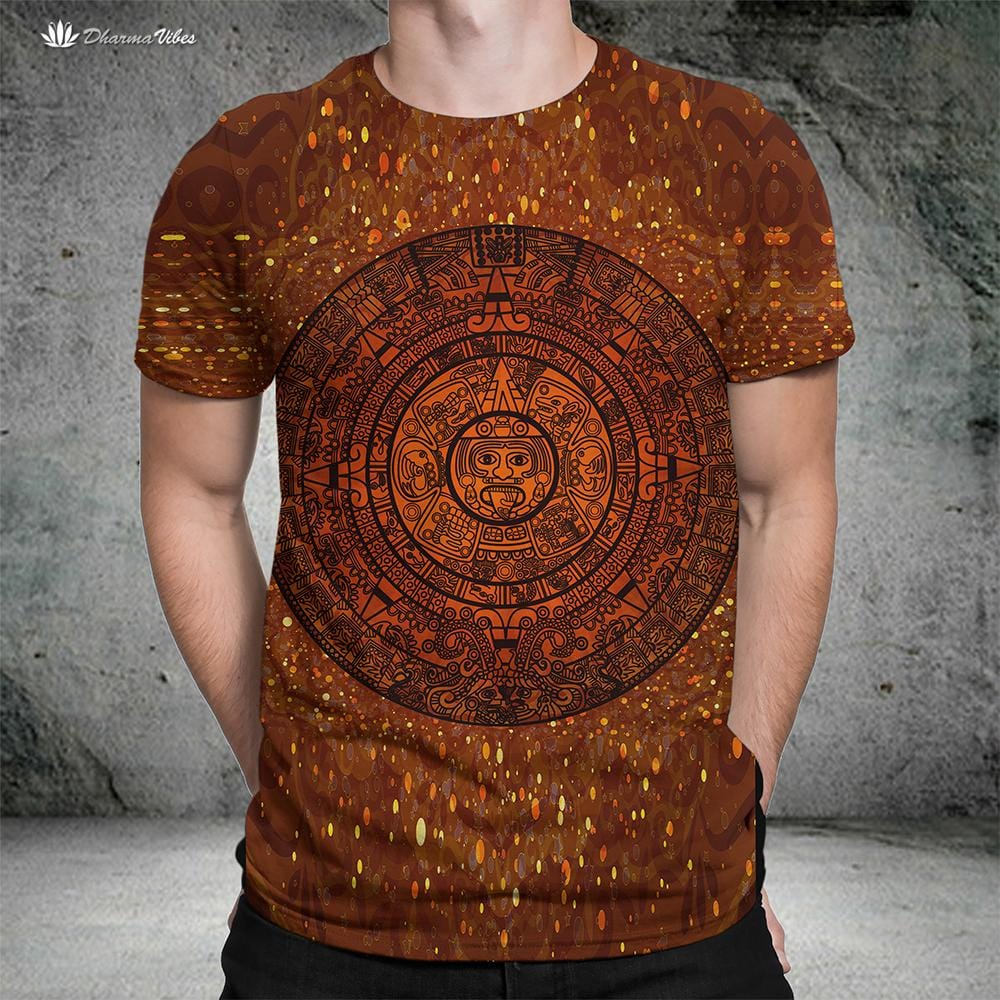 Glowing Aztec Calendar by McAshe T-Shirt
