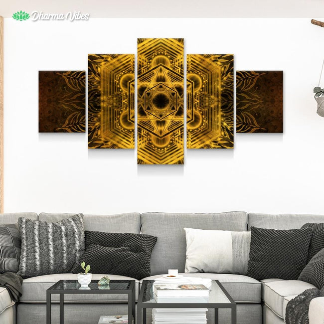 Golden Metatronic by YantrArt 5-Piece Canvas