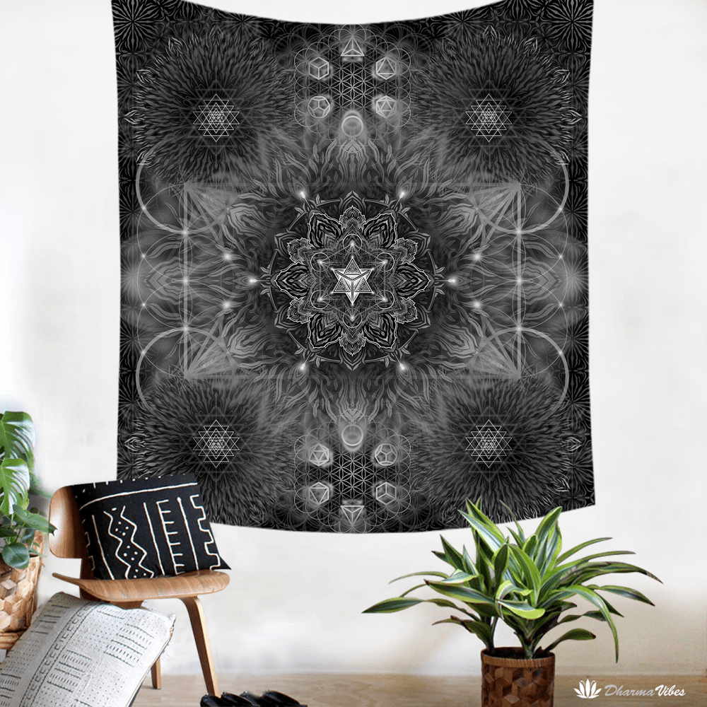Geometric Dark by YantrArt Design Tapestry
