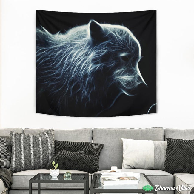 Glowing Artic Wolf by Milos Karanovic Tapestry