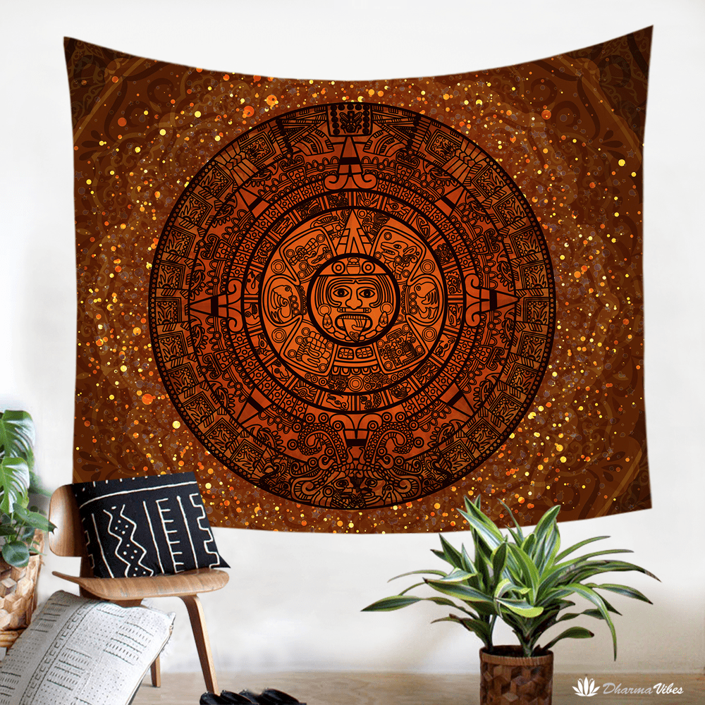 Glowing Aztec Calendar by McAshe Tapestry