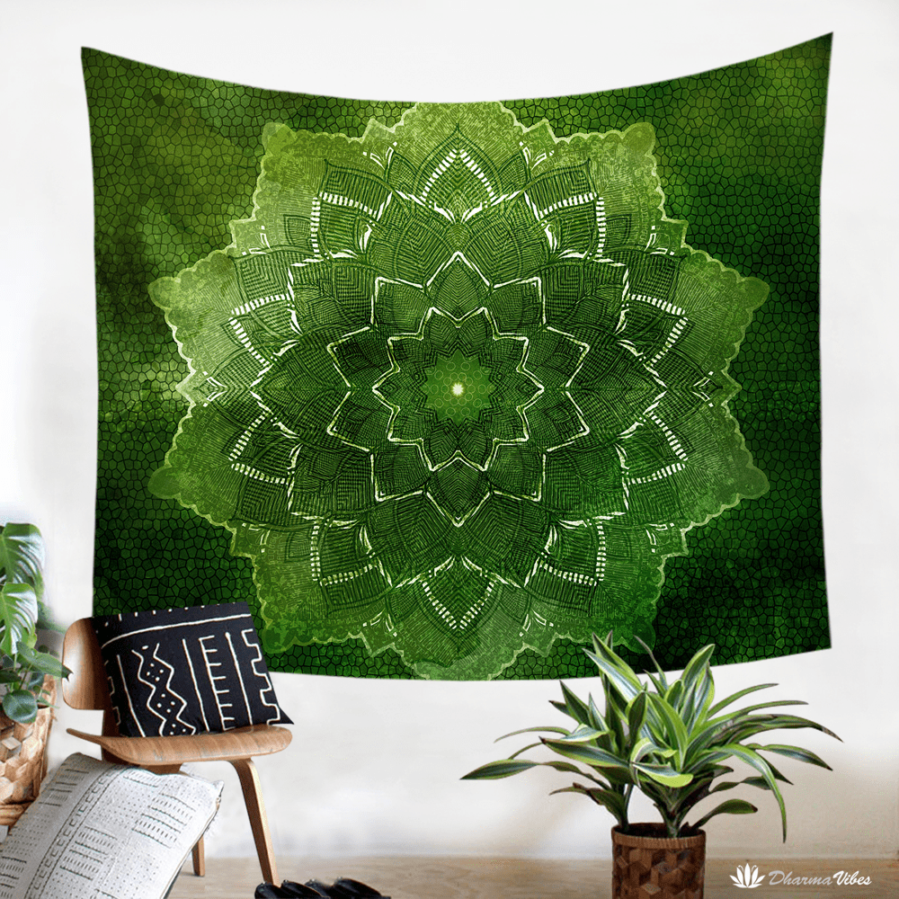 Green Flower by McAshe Tapestry