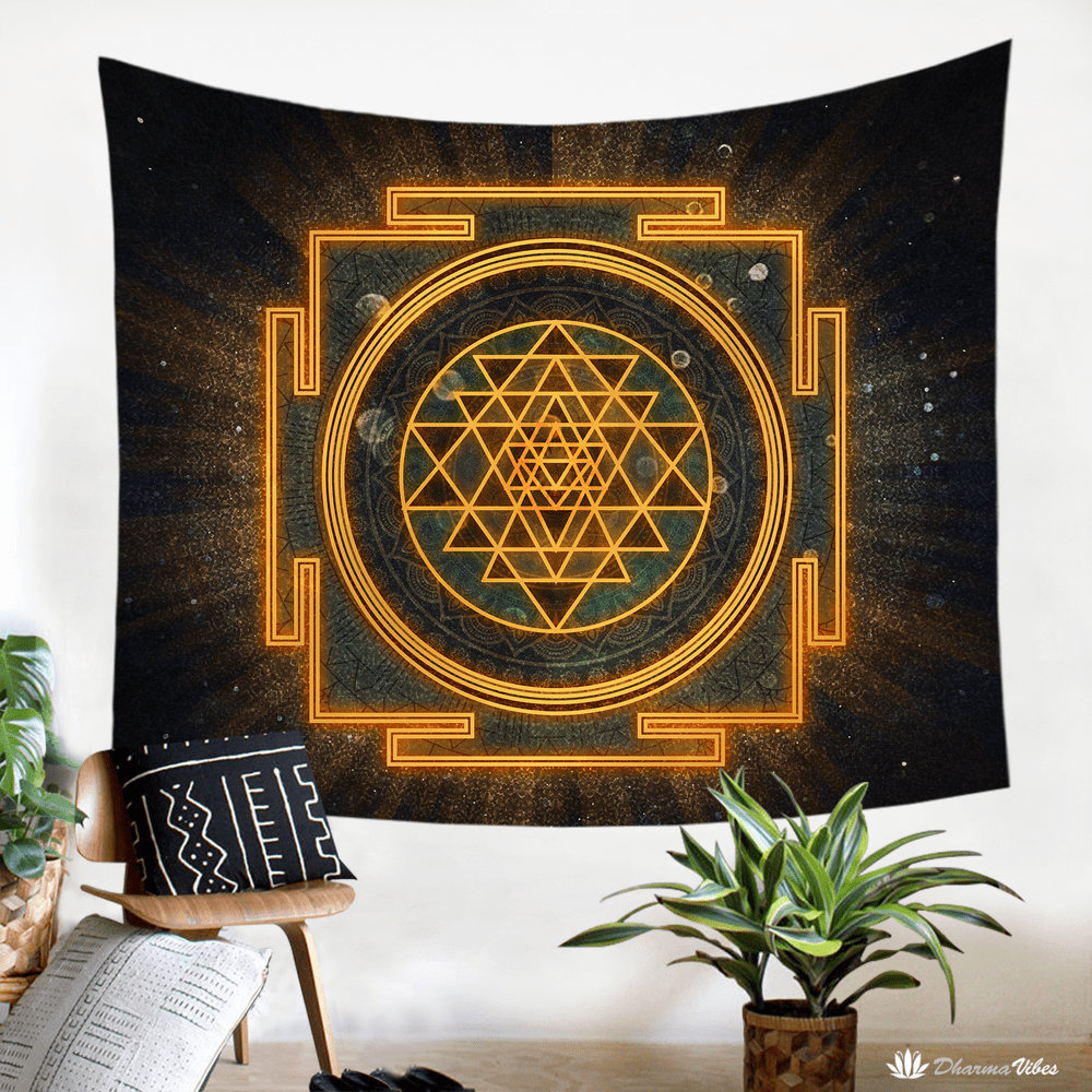 Incandescent Sri Yantra by McAshe Tapestry
