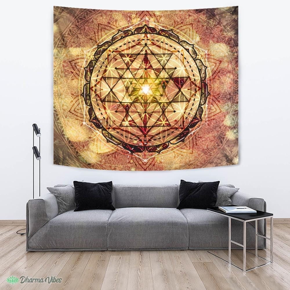 Irradiated Sage Sri Yantra by McAshe Tapestry