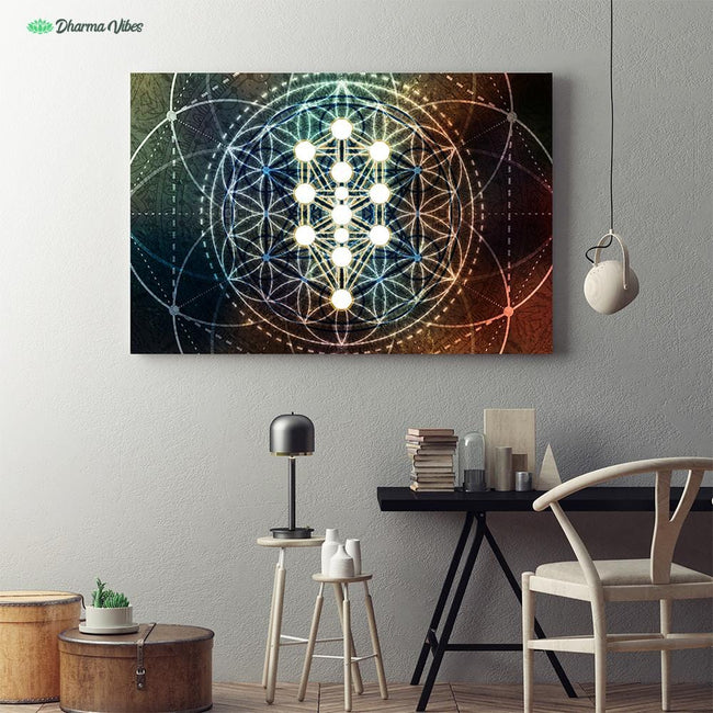 Kabbalah Geometry Flower by McAshe 1-Piece Canvas
