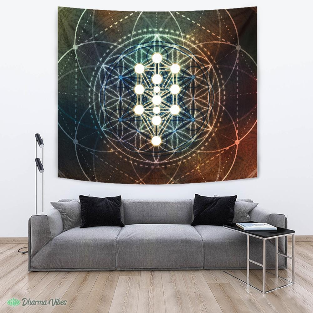 Kabbalah Geometry Flower by McAshe Tapestry