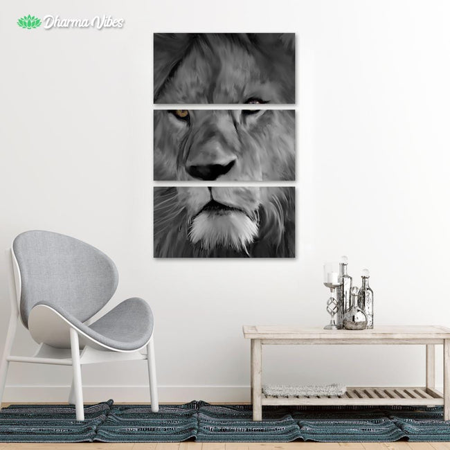 Lion - Black and White by Andy Brackpool 3-Piece Canvas