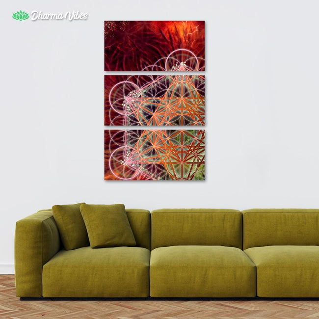 Metatrons - Red by YantrArt 3-Piece Canvas