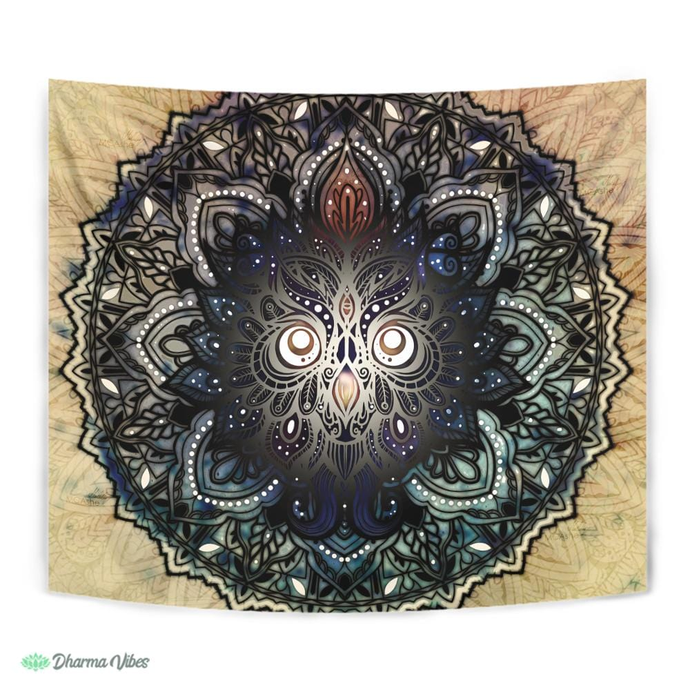 Mandala Nocturnal Owl by McAshe Tapestry