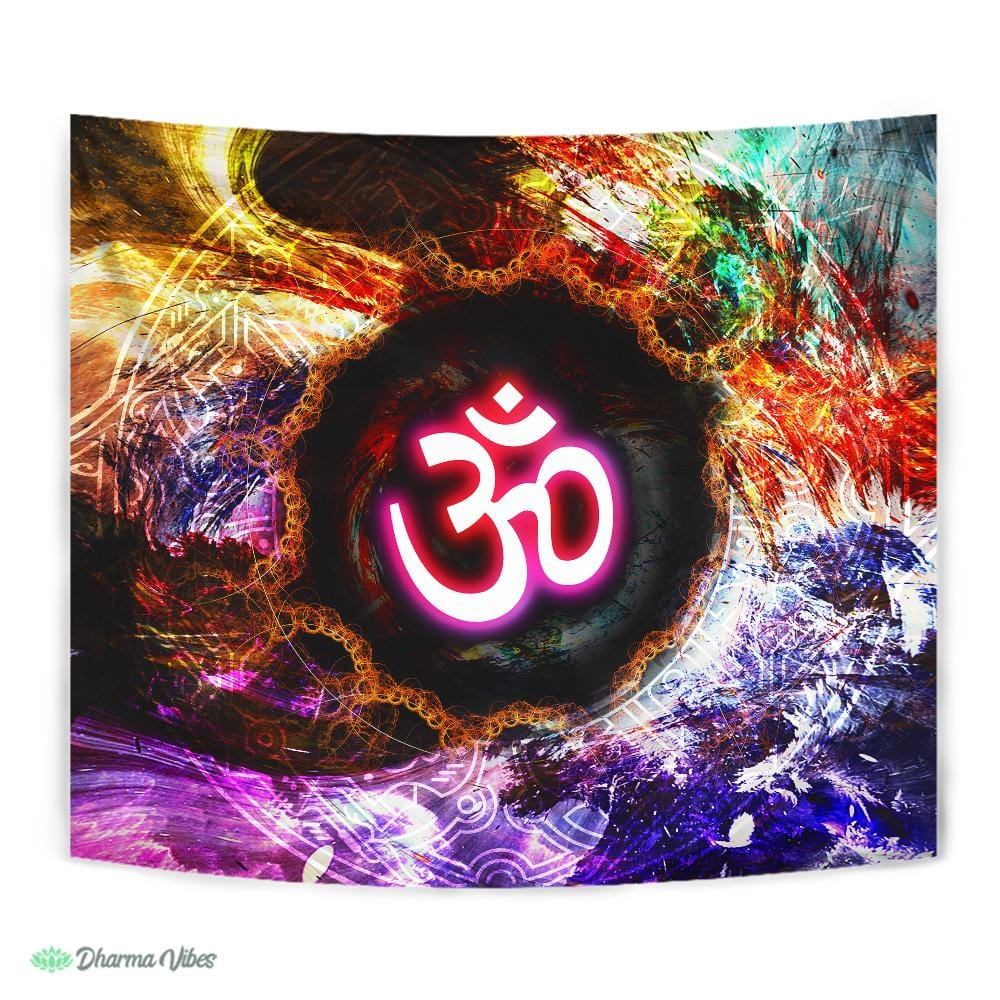 Multicolored Om by McAshe Tapestry
