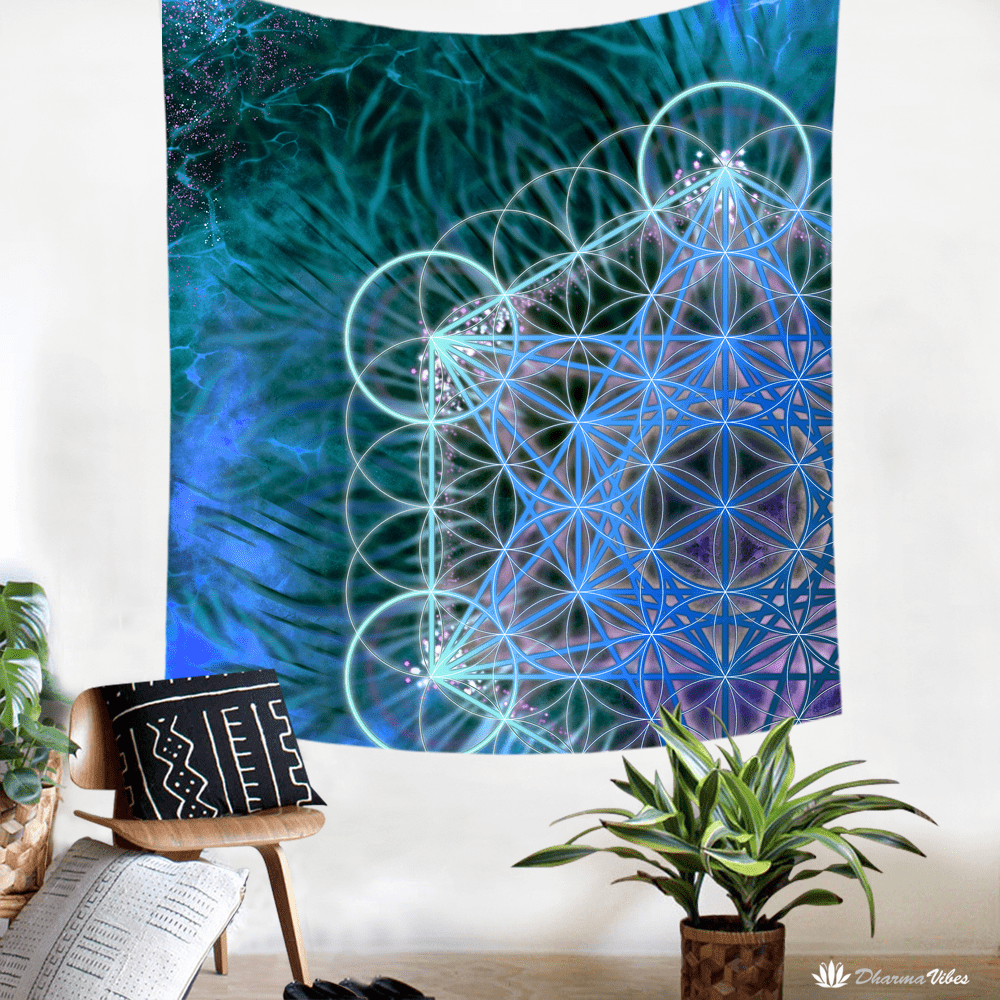 Metatrons Blue by YantrArt Design Tapestry