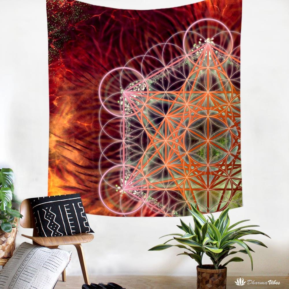 Metatrons Red by YantrArt Design Tapestry