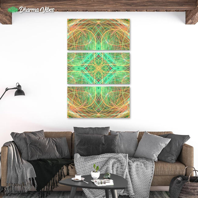 Psychedelic Inner Enlightenment by YantrArt 3-Piece Canvas