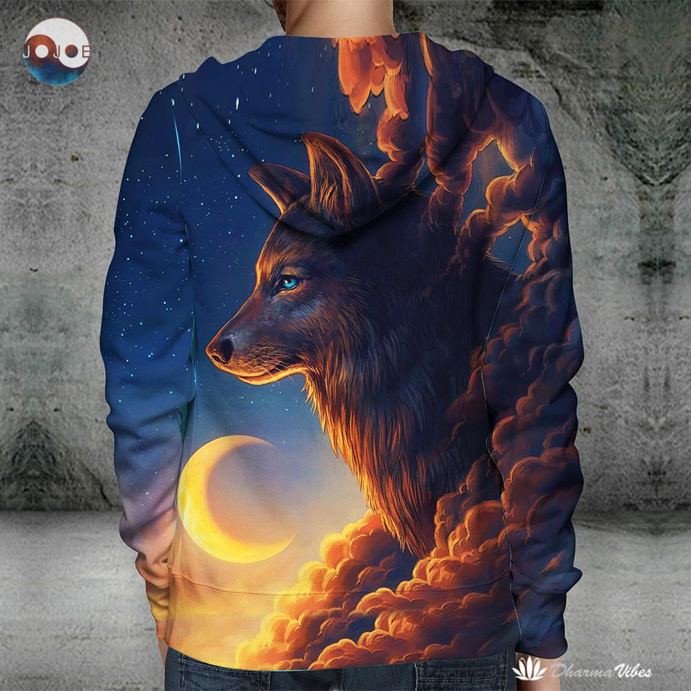 Night Guardian by JoJoesArt (Wolf 3D Hoodie)