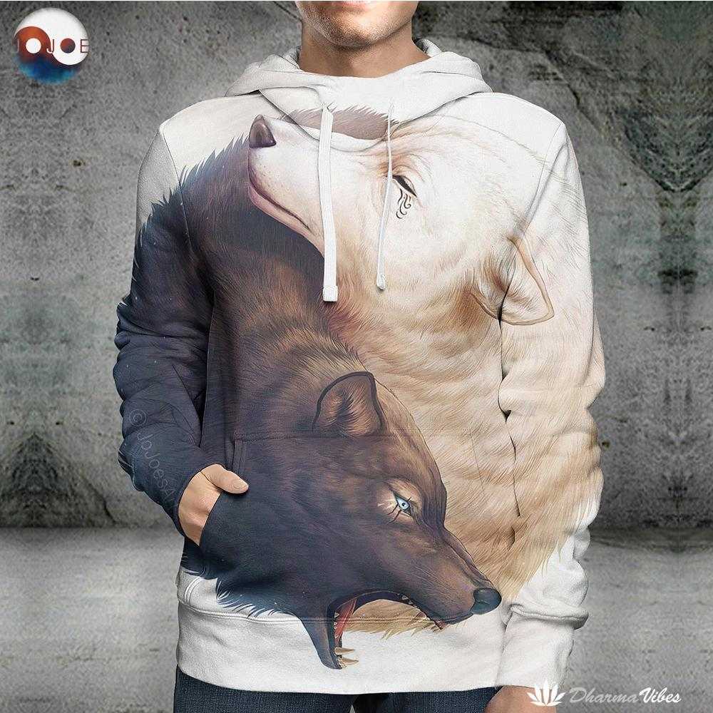 Yin and Yang Wolves by JoJoesArt (Wolf 3D Hoodie)