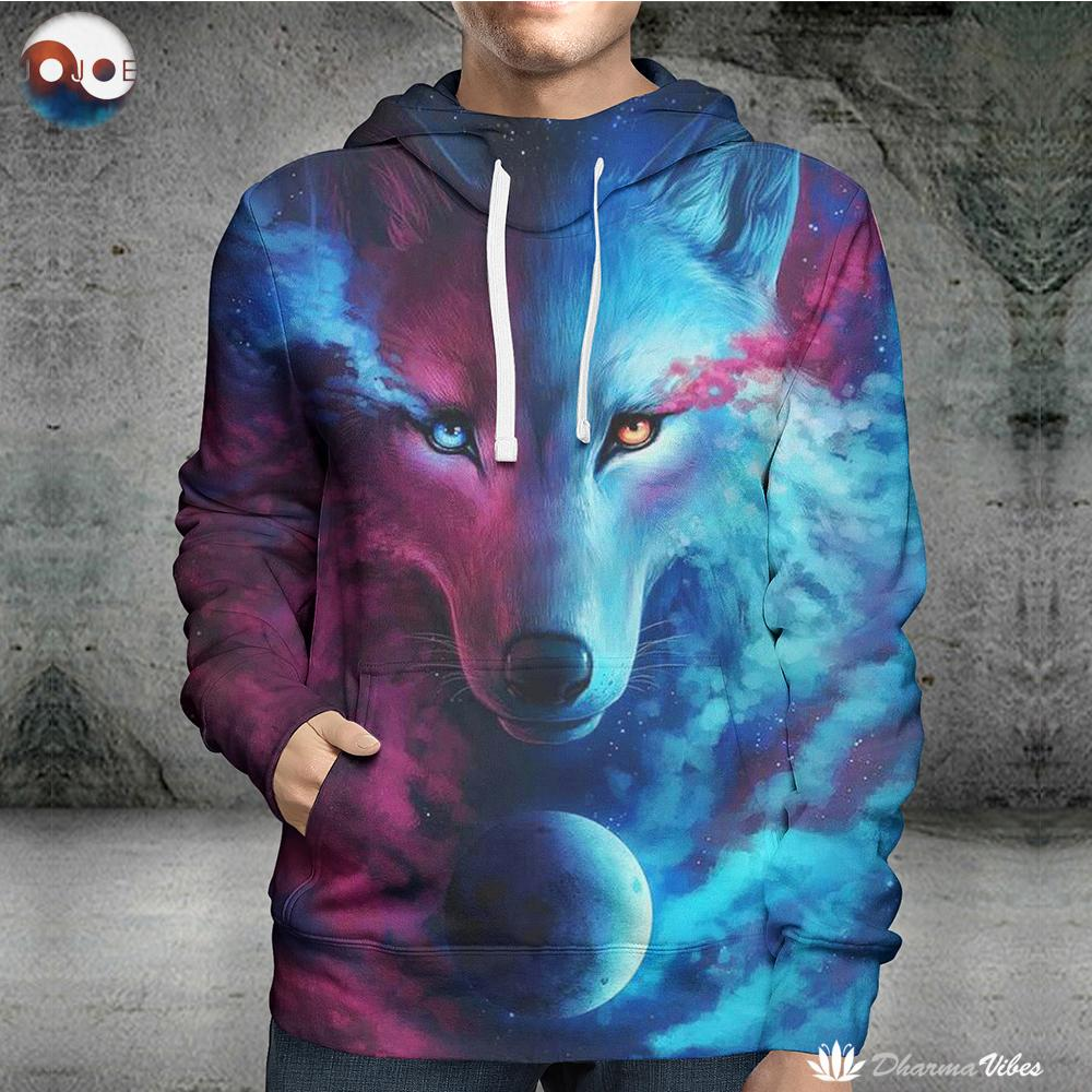 Where Light And Dark Meet by JoJoesart (Wolf 3D Hoodie)